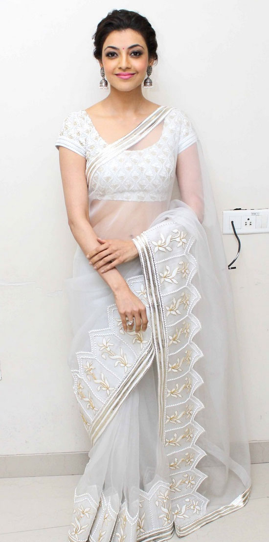 kajal agarwal in white Saree