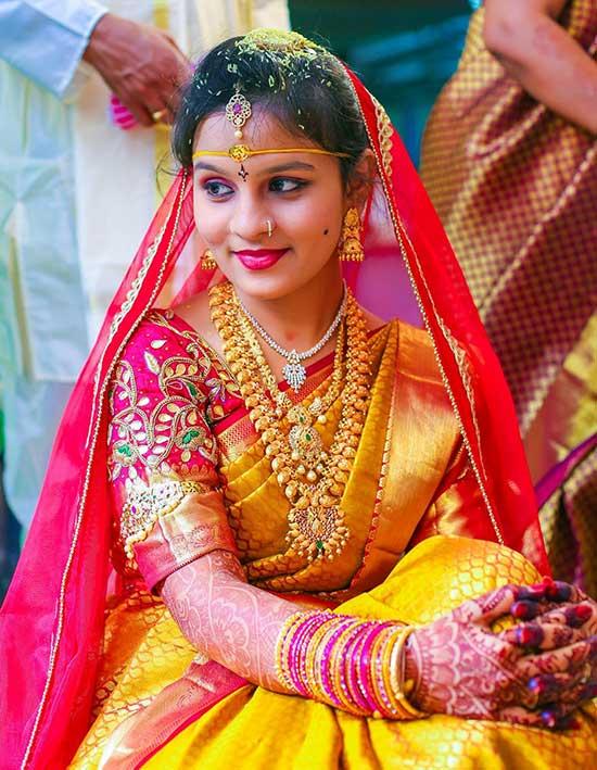 kanchipuram sari.Braid with fresh jasmine flowers.