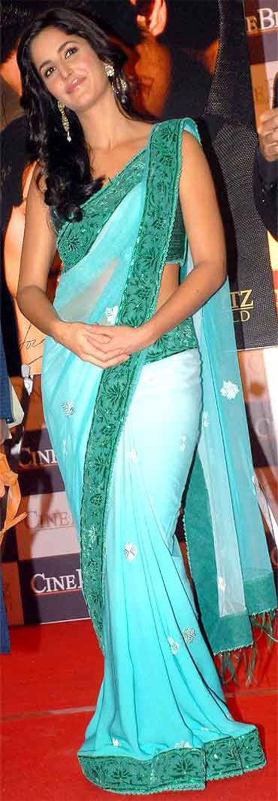 katrina kaif in clear Teal Saree