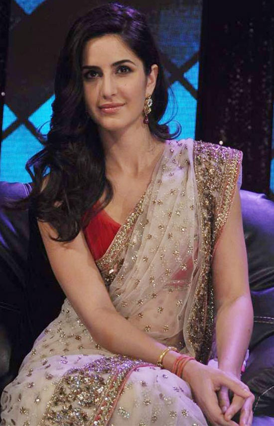 katrina kaif in cream transparent Saree