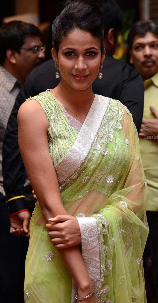 lavanya-tripathi-Transparent Green Saree