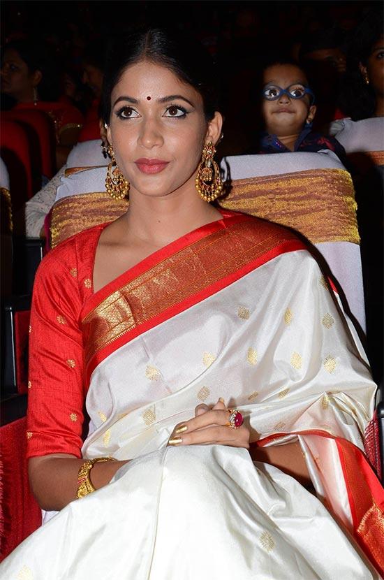 lavanya-tripathi-in White red border Saree