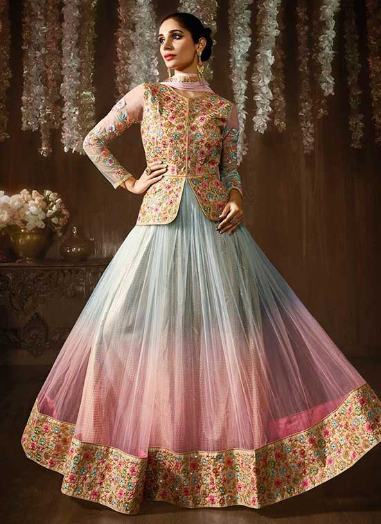 light blue and pink jacket style anarkali suit