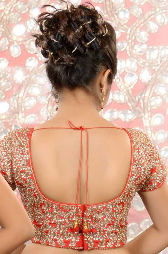 orange-raw silk-Kundan-worked-blouse-in-neck