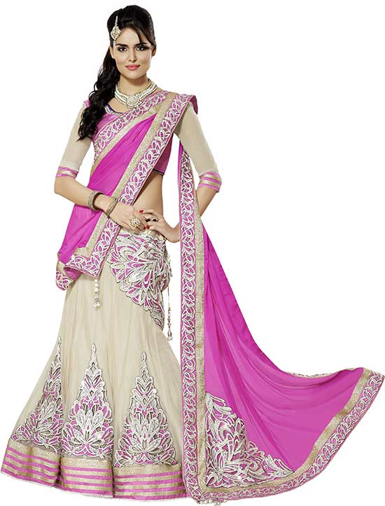 pink and off white colored georgette and net embroidered lehenga choli