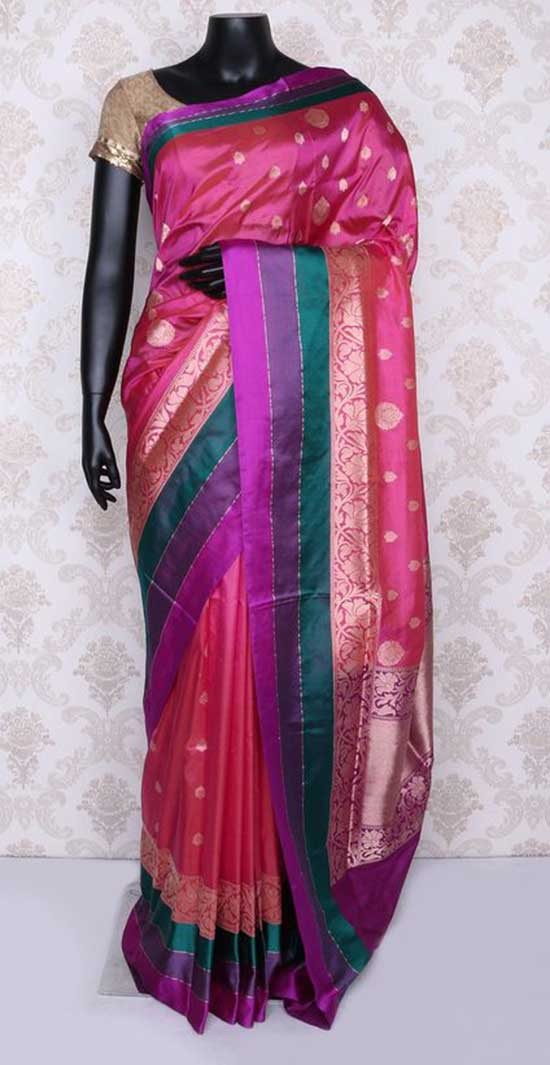 pink & gold pure banarasi silk rich saree with multicoloured