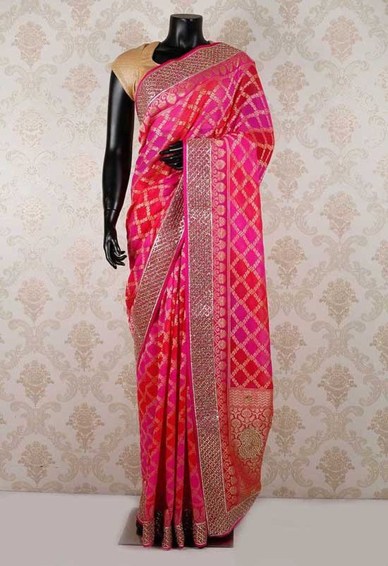 pink pure dazzling saree with light gold & silver border