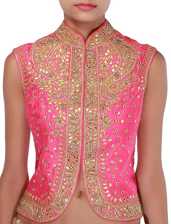 Pink Silk Jacket Style Collar Blouse