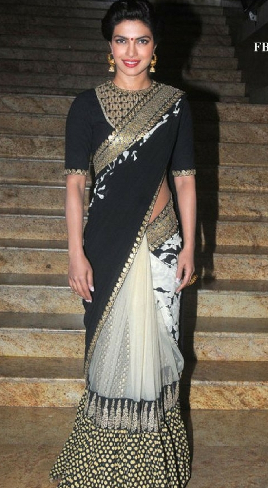 priyanka chopra in black and off white sabyasachi saree