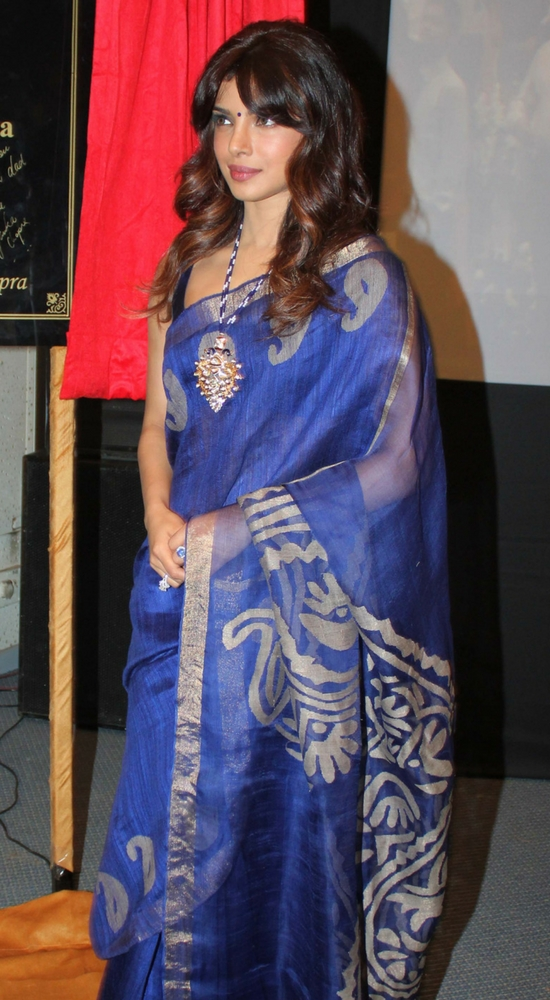 priyanka chopra in blue transparent saree