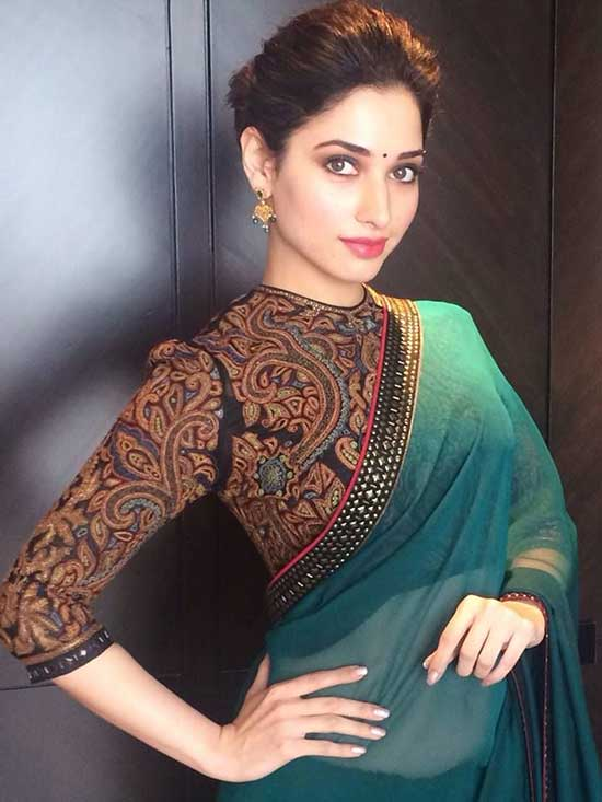 tamanna in high neck full sleeve blouse design