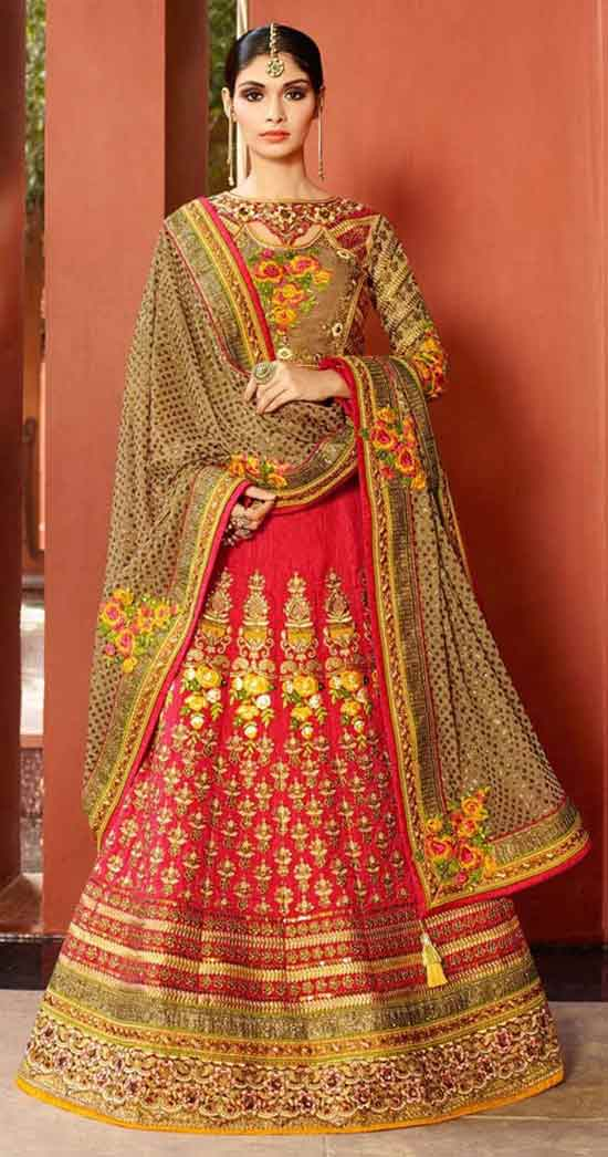 ariation pink art silk bridal lehenga choli