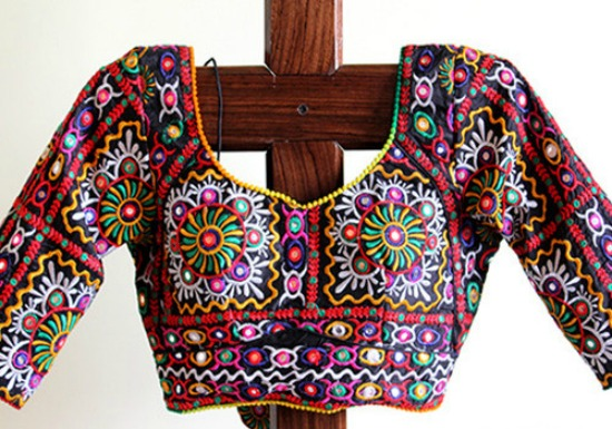 Black Kutch Multicolor Work Blouse Design