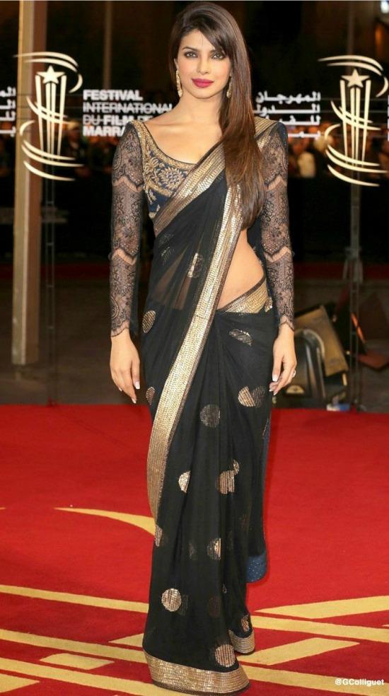 Priyanka Chopra Black Net Sari With Stitched Blouse