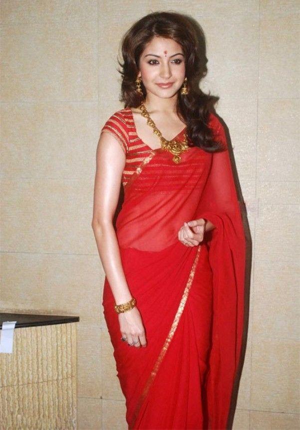 Anushka Sharma Georgette Lace Work Plain Red Bollywood Designer Saree