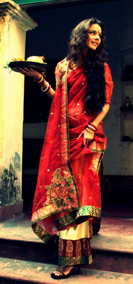 Cream And Red Traditional Bengali Saree With Embroidery Pallu