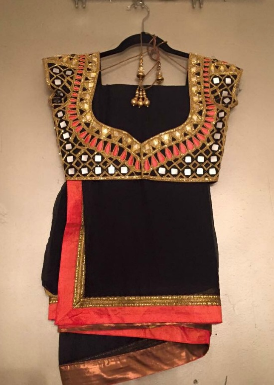 Black Saree With Cut Work Blouse