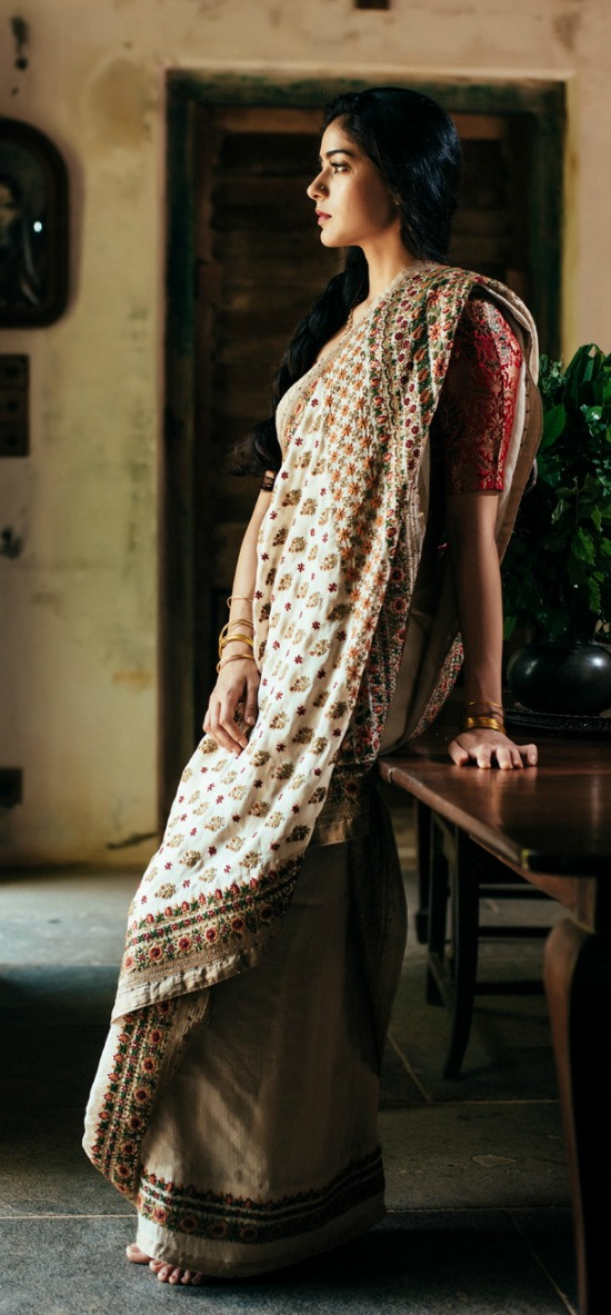 Multicolor Saree With Embroidery Work All Over The Saree