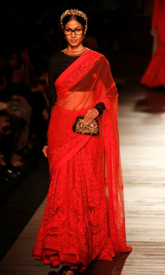 Plain Longer Sleeved Blouse For Magnificent Red Lace Saree