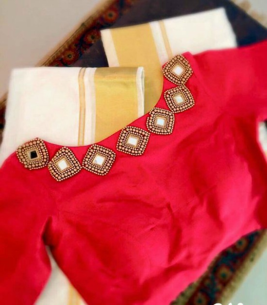 Red Boat Neck Blouse With Simple Diamond Shape Mirror Work
