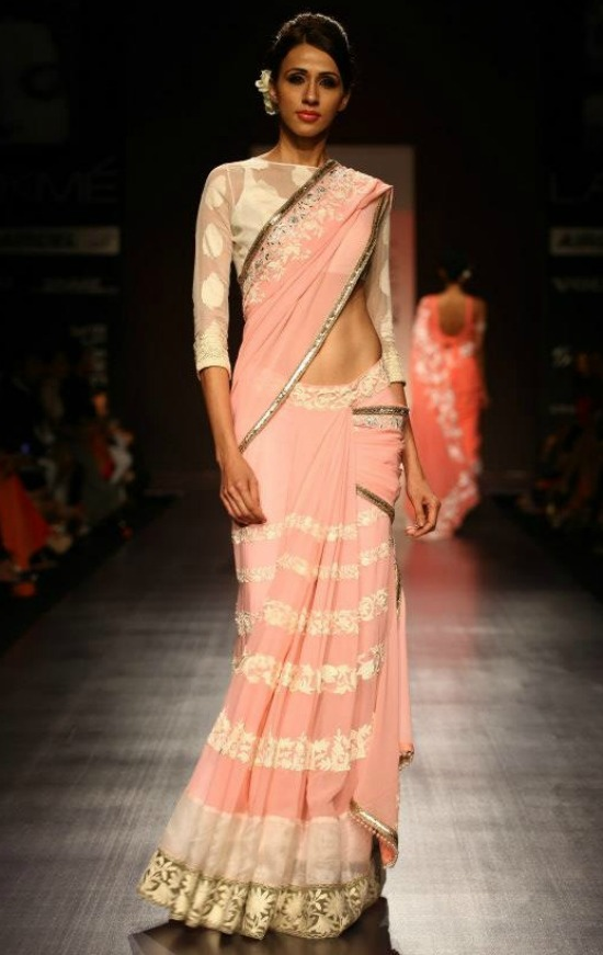Manish Malhotra Pink Saree With Semi Quarter Sleeves Net Blouse