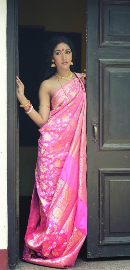 Pink Banarasi Bengali Saree