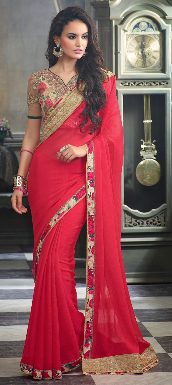 Red and Maroon Color Embroidered Party Wear Sarees in Faux Chiffon Fabric