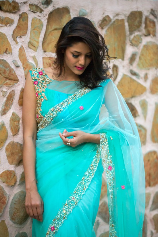 Powder Blue And Sea Green Shaded Net Saree With Patterned Blouse