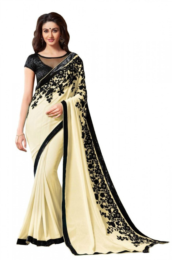 Cream and Black Velvet Work Saree