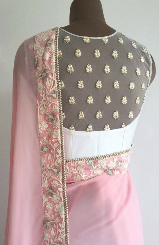 Sheer Yoke Blouse And Sequins Motifs On Back Of Blouse