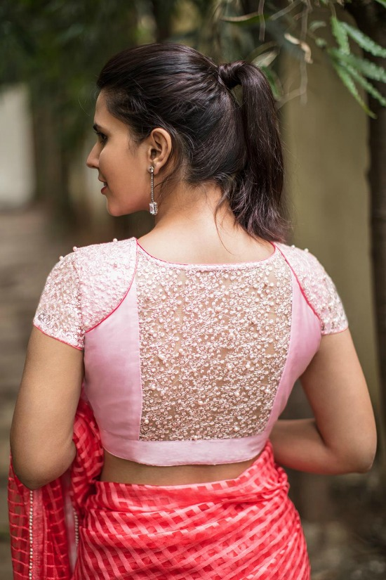 Pink Embroidered Stone Embllished Net Blouse