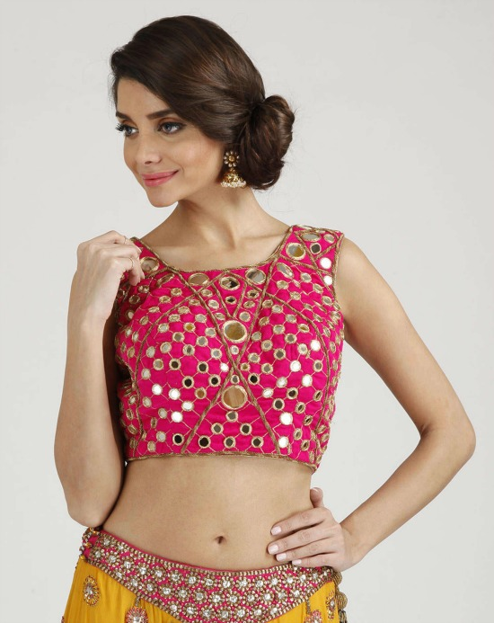 Semi U Shape Pink Rajasthani Mirror Work Blouse
