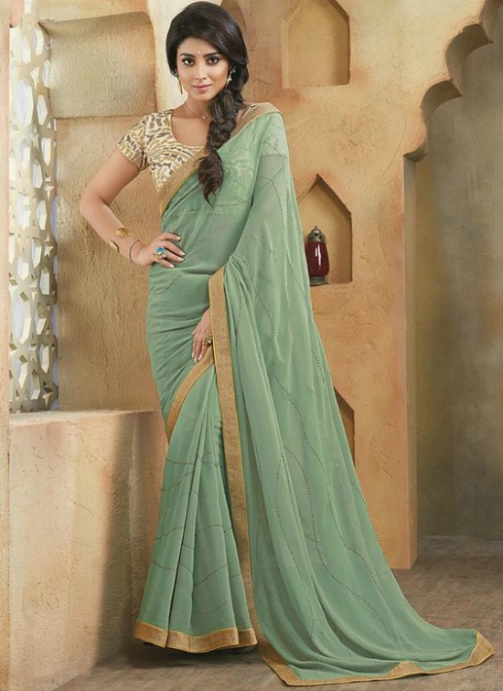 Sriya Saran In Sea Green Georgette Saree