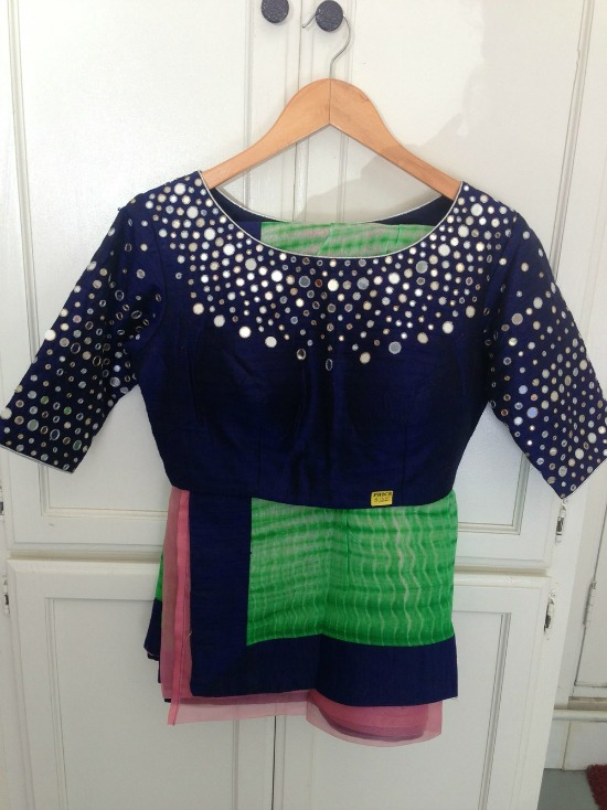 Multicolor Silk Saree With Boat Neck Mirror Work Blouse