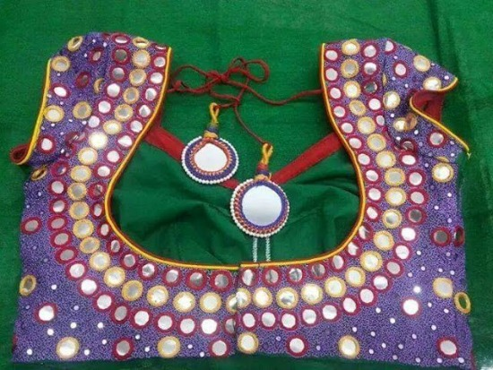 Purple Color Deep Round Neck Mirror Work Blouse