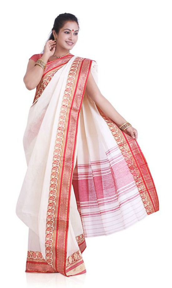 Pure Cotton Bengali Saree With Mango Design Border