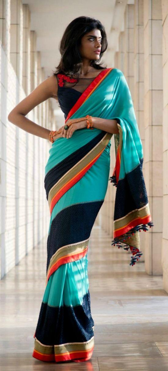 Multicolor Chiffon Saree
