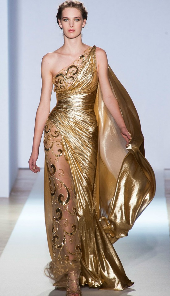 Gold Grecian Gown One Shoulder And Sheer Leg