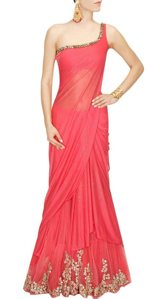 One Shoulder Sequins Work Pink Saree Gown