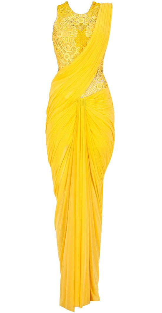 Yellow Embroidered Cowl Drape Pre Stitched Sari Gown