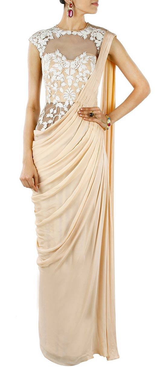 Stylish Cream Georgette And Satin Indowestern Saree Style Gown