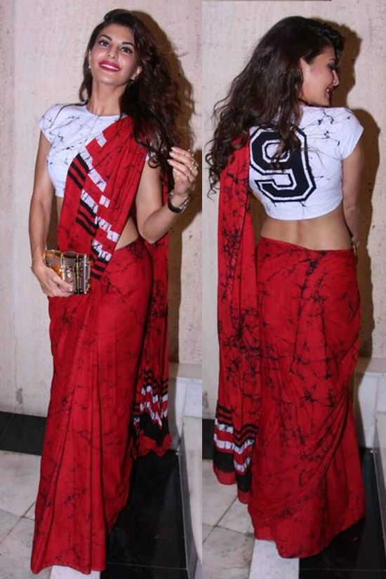 Jacqueline Fernandez Red Printed Saree With A T-Shirt Blouse