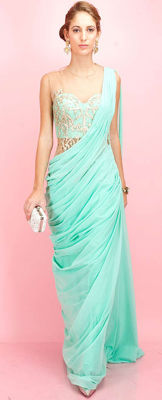 Turquoise Embroidered Sari Gown
