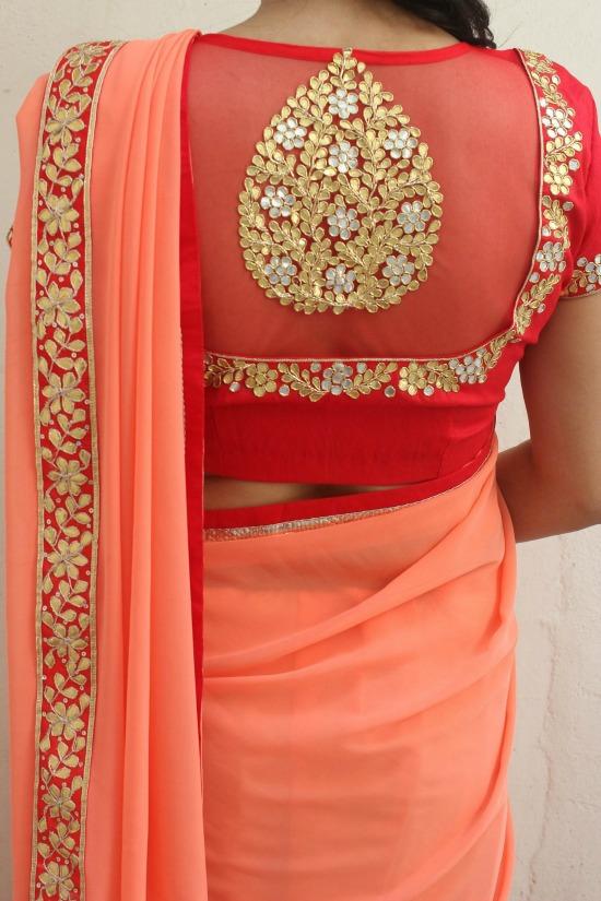 Gota Traditional Handembroidery Zardosi Redpeachcombo Elegant