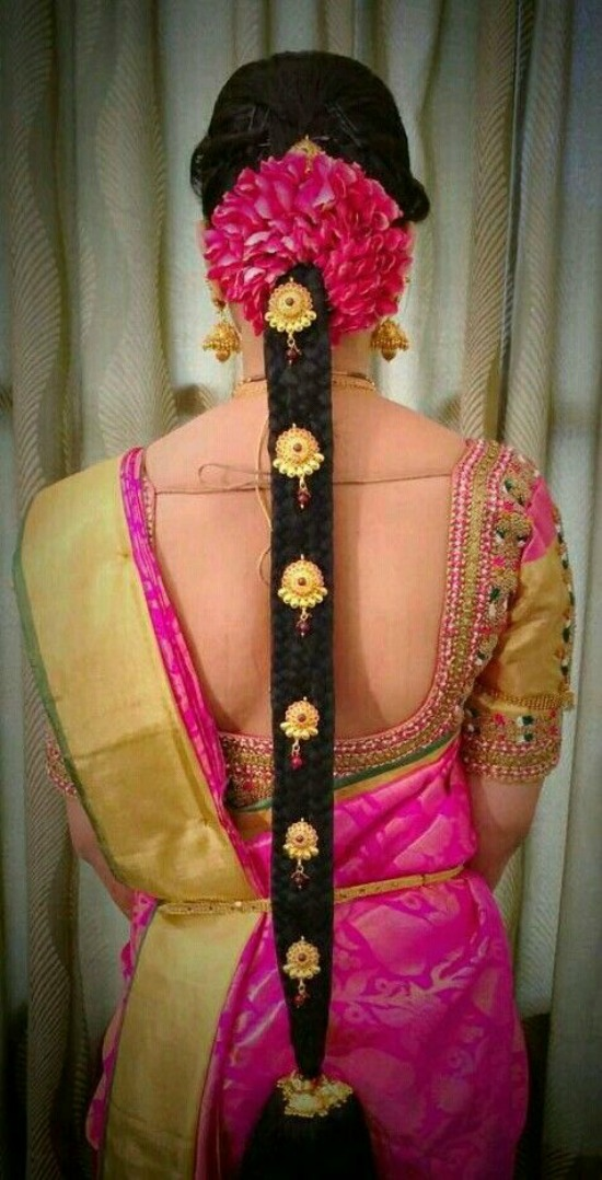 Deep U Shape Gold Work Blouse For Pink Saree