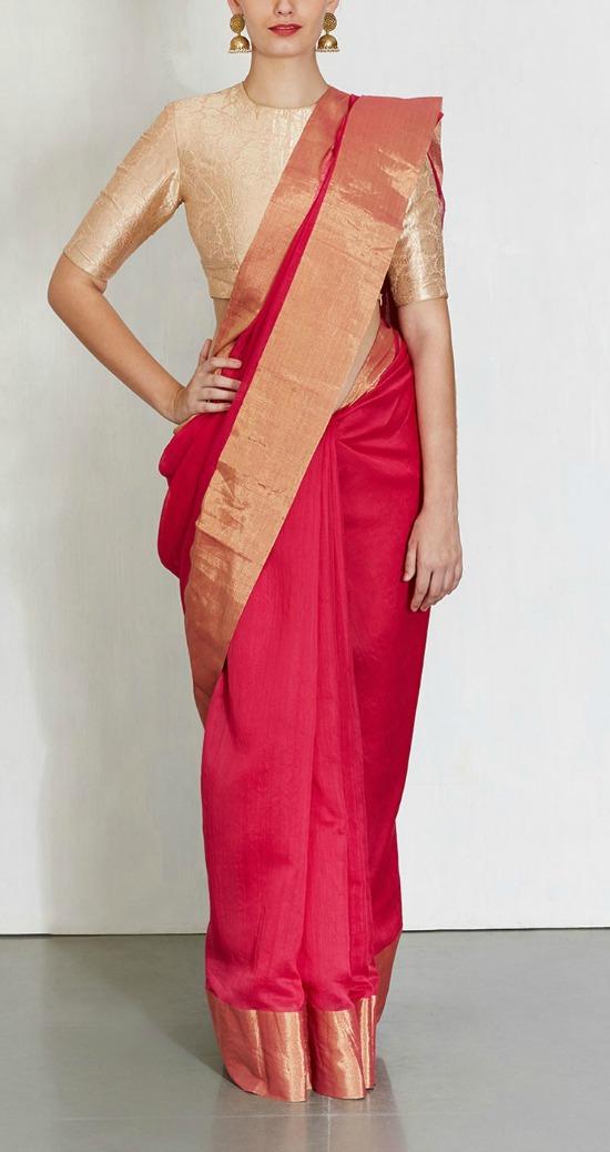 Rani Rangeen Saree Raw Mango With Gold Blouse