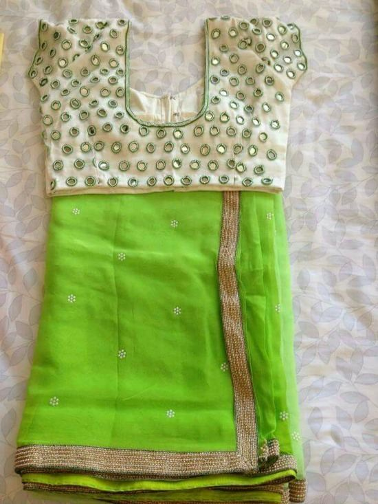 Parrot Green Saree With Cream Mirror Work Blouse