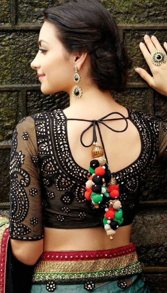 Black Blouse With Stonework and Transparent Sleeves