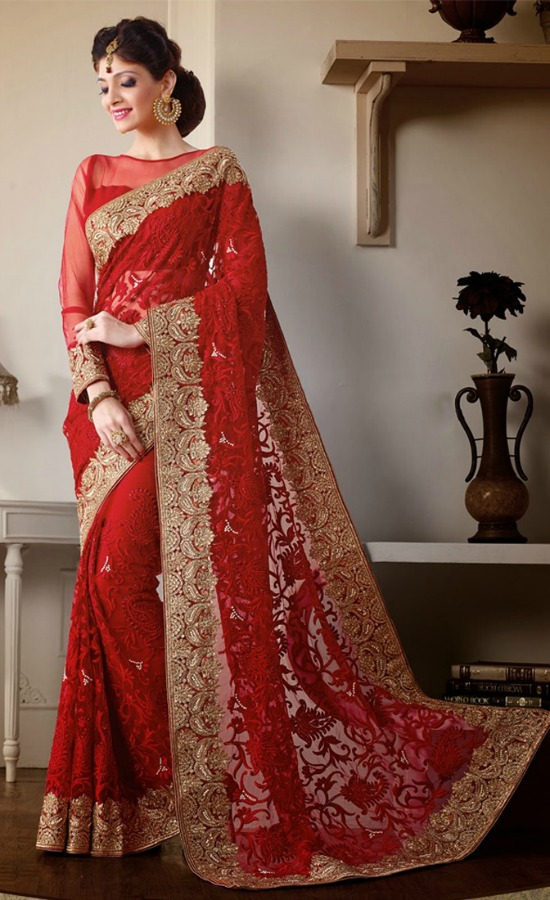 Bridal Red Net Wedding Saree With Embroidery All Over And Sheer Blouse