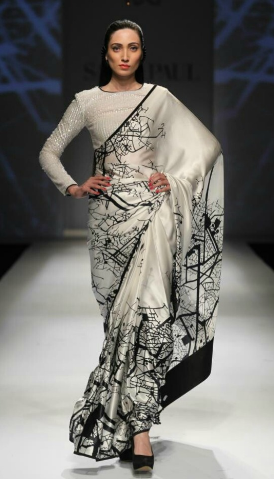 Graphics Printed Saree WithFull Sleeves High Neck Blouse
